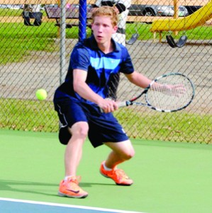 Nathan Marsh is enjoying his second season on the North Country Falcons tennis team, having come late to the program.  A lifelong hockey and soccer player, Marsh has emerged as one of the top four singles players in the Falcons tennis program. Photo by Richard Creaser