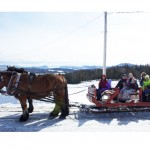 Willoughby Gap can be seen in the background as a sleigh ride group heads out on a spectacular winter day as part of the I Love Winter festival in Brownington on Saturday.  Photo by Meg Gibson