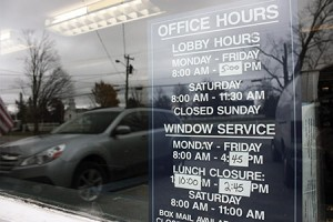 The Post Office in Craftsbury Common has strange hours these days.  Residents say they are inconvenient, but the USPS says decreasing hours is the only way to keep some of these offices open. Photos by David Dudley