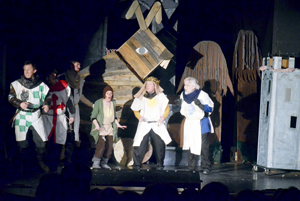 The knights seek to oust the perfidious French from their castle by use of a stratagem.  Standing in front of the great wooden rabbit are Todd Jones, Zeb McCoy, Jake Blankenship, Joan Racine, Alan Franklin, and Brendan Hadash.
