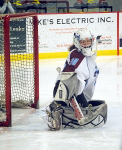 The North Country Falcons' earned a spot in Tuesday's championship game courtesy of timely scoring and freshman goalie Mikaella Doran's 25 save performance against the Middlebury Tigers on Saturday afternoon.  Photo by Richard Creaser
