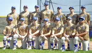 The Rangers pose in their camouflage uniforms for a group portrait.  In the back row, from left to right, are Coach Eric Degre, Ethan Willey, Eli Leroux, Matt Messier, Logan Harper, Brennan Perkins, and Liam Kennedy.  In the front are Kolby George, Noah Royer, Zach Royer, Dakota Macallister, Denver Bodette, Brady Perron, and Dillon Gile.  Photo by Joseph Gresser