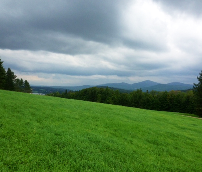 A view in East Charleston with a view of Bald Mountain and the Moulton dairy farm.  Photo by Jesse Coe