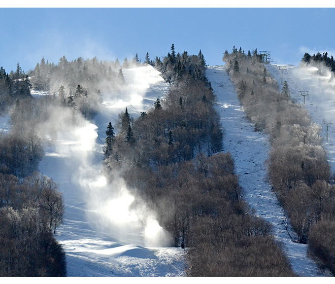 Snowmaking at Jay Peak November 14.  The mountain is open for the ski season.  Photo by Bethany M. Dunbar